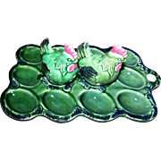 Majolica Style Kitschy  Green Deviled Egg Ceramic Serving Tray Platter with S&P Hen Shakers ..