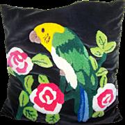 Vintage Mid- Century VELVET & CREWEL  Stitched Floral Bird  Themed Parrot Pillow