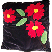Vintage Mid- Century VELVET & CREWEL Stitched Floral Themed Pillow