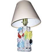 Charming Vintage Ceramic Lamp Hand Painted Couple Shade Not Included