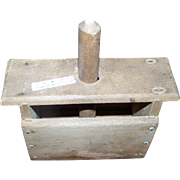 Charming Primitive Old Canadian Butter Wooden Mold Press with Textured Stamp