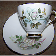 SOLD White Rose Floral  Motif Tea Cup & Saucer Delphine
