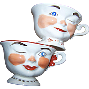 Vintage Set Pair of  Lipton Promo Winking Tea Cups STERLING