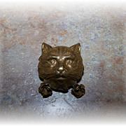 SALE What A Pretty Vintage Brass Kitty Cat Face Pin / Brooch