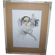 """Lovey Decorative Wood Frame with Applied Flowers Featuring   """"The Debutante""""  1910 F"""