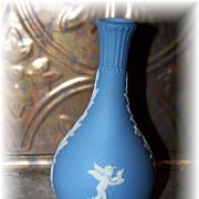 Vintage Wedgwood Blue Jasperware Vase Putti Motif