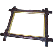 As Is  Adirondack Style Wood Wooden  Frame with Leaves Lovely Wall Decor No Glass Insert