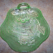 SALE Indiana Charlie Green Depression Glass Nappy Dish Cherries
