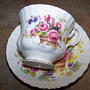 Flowers In Basket Vintage Royal Albert Tea Cup & Saucer