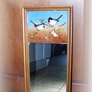 Vintage Reverse Painted Framed Mirror Bird Motif