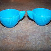 Akro Agate Blue Glass Miniature Children's Creamer & Sugar Deco Style