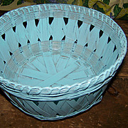 A Vintage Hand Woven Basket Painted Light Blue