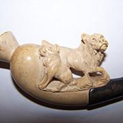 Vintage Meerschaum Pipe/Cheroot  Holder - Carved Dogs