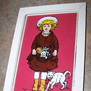 Vintage Reverse Painted  Framed Foil Art  Little Girl & Her Kitty Cats