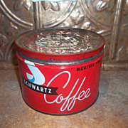 Collectible Schwartz Coffee Can Tin Halifax Montreal Canada