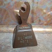 Souvenir Copper Plate Advertising Bell Opener Biltmore Hotel Los Angeles