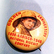 A Vintage Advertising Celluloid Pinback Pin Nabisco National Biscuit Company