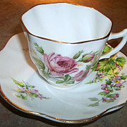 SOLD Pretty Vintage Queens Fine  Bone China Floral Tea Cup & Saucer Set