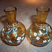 Two Miniature Honey Amber Glass Enamel Vases Floral Motif