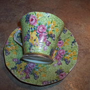 SALE Cheerful & Colorful Mixed Floral Chintz Tea Cup & Saucer MIJ