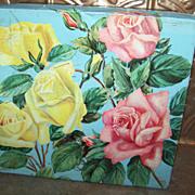 Vintage Rose Floral Motif Advertising Cookie Tin  Huntley & Palmers England