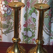 Vintage Large Brass Memorial Candle Stick Holders