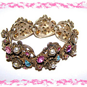 SALE Coro Pastel Rhinestone Imitation Pearl Linked Bracelet
