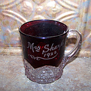 A Collectible Souvenir Ruby Flash Glass Mug  Mrs Sharp 1922 J.B.L.