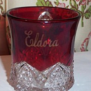 Vintage Ruby Souvenir Glass Mug Eldora The Golden One