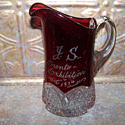 "SALE 7"" Souvenir  Ruby Glass Pitcher J.S. Toronto Exhibition 1914"