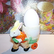 SALE MIJ Hand Painted Bunny Rabbit Pulling Cart Cache Pot / Egg Cup