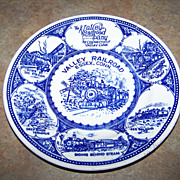 The Valley Railroad Railway  Blue & White Plate Essex Connecticut