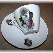 SALE Delicate Porcelain Dog Tea Cup & Saucer Bavaria
