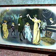 Victorian Era  Parlor Couple Dancing & Children Piano Scene Print