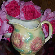 Hull SunGlow Floral Pottery Milk Pitcher 24 OZ
