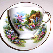 SOLD Royal Vale Bone China Cottage Scene Tea Cup & Saucer
