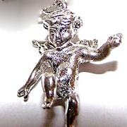 Vintage Figural Sterling Winged Angel / Putti Charm