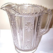 Pressed Glass Pitcher File Flower Pattern