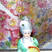 Miniature Hand Painted Porcelain Half Doll Lady / Fan
