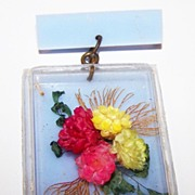 Vintage Plastic Shadow Box Pin Dried Floral Arrangement