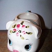 Ceramic Hand Painted Piggy Bank Dollar Holder Relpo Japan