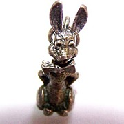 SALE Sterling Bunny Rabbit  Mechanical Bobbing Head Charm