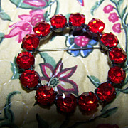 SALE Siam Red Japanned Rhinestone Brooch / Pin