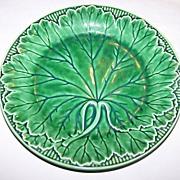 Vintage Wedgwood England Majolica Green  Leaf Motif Plate