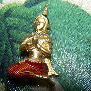 Meditating Asian Themed Figural Pin Rhinestone Enamel