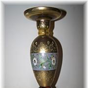 Unique Hand Painted Glass Floral Motif Candlestick