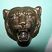 SALE GROWL WOW A Unique  Wild  Lion Cat Brass Pin / Brooch with Rhinestones