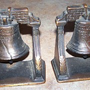 SOLD Vintage Cast Metal Liberty Bell Bookends