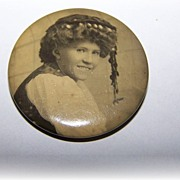 Sentimental Sepia Celluloid Pinback Portrait Pin Gypsy Girl Style