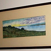 Vintage Scenic Water Color Painting Nova Scotia Canada